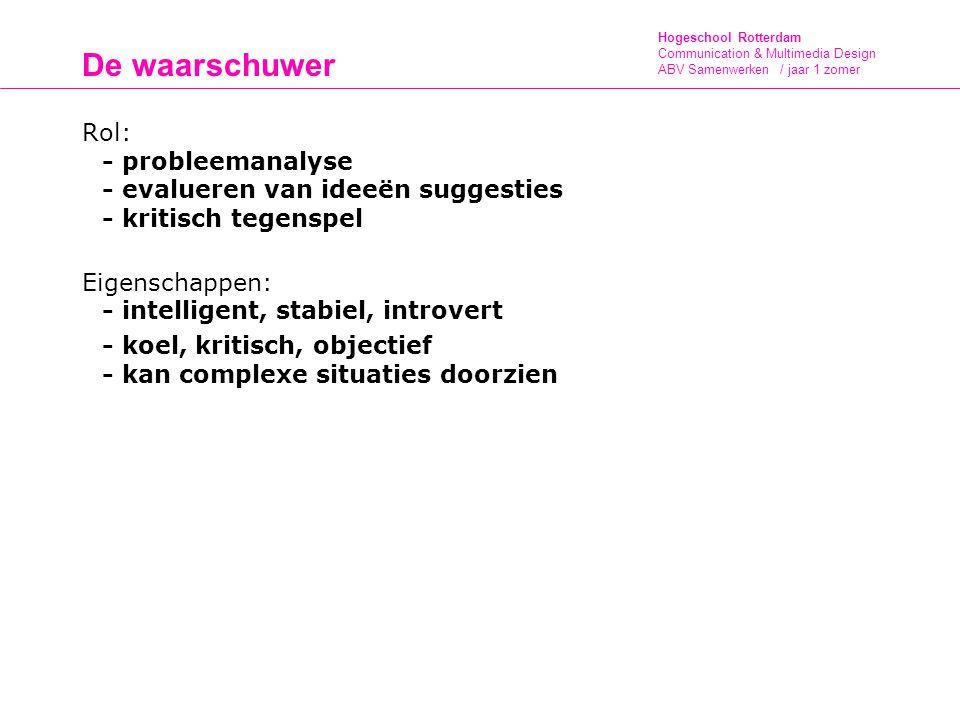 Hogeschool Rotterdam Communication & Multimedia Design ABV Samenwerken / jaar 1 zomer De waarschuwer Rol: - probleemanalyse - evalueren van ideeën suggesties - kritisch tegenspel Eigenschappen: - intelligent, stabiel, introvert - koel, kritisch, objectief - kan complexe situaties doorzien