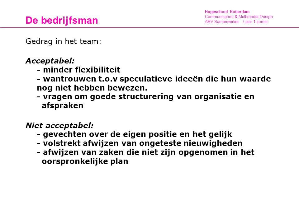 Hogeschool Rotterdam Communication & Multimedia Design ABV Samenwerken / jaar 1 zomer De bedrijfsman Gedrag in het team: Acceptabel: - minder flexibiliteit - wantrouwen t.o.v speculatieve ideeën die hun waarde nog niet hebben bewezen.