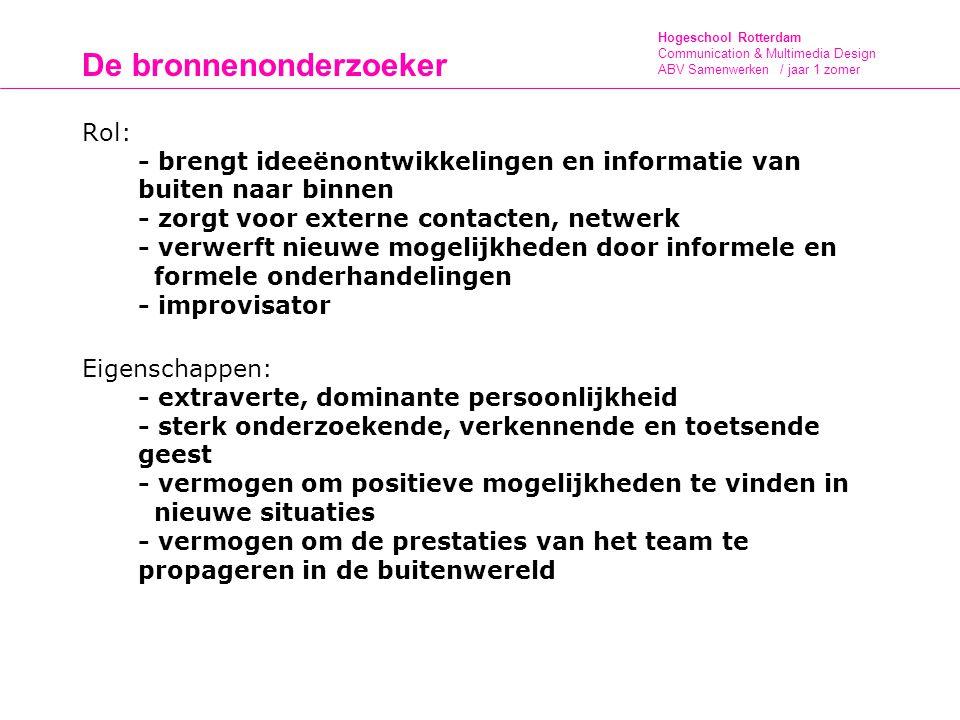 Hogeschool Rotterdam Communication & Multimedia Design ABV Samenwerken / jaar 1 zomer De bronnenonderzoeker Rol: - brengt ideeënontwikkelingen en info