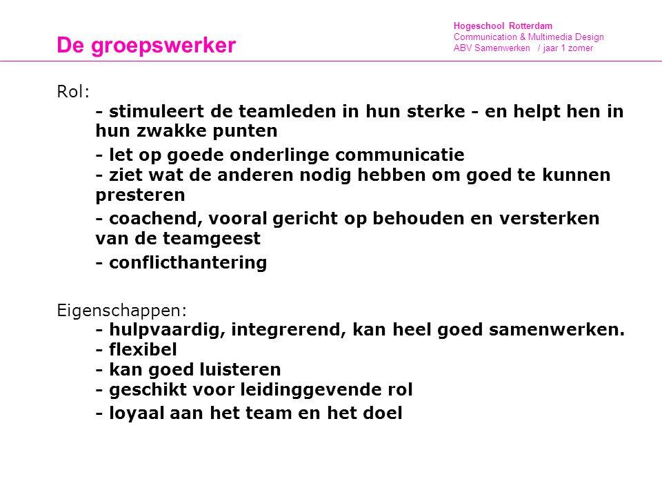 Hogeschool Rotterdam Communication & Multimedia Design ABV Samenwerken / jaar 1 zomer De groepswerker Rol: - stimuleert de teamleden in hun sterke - e