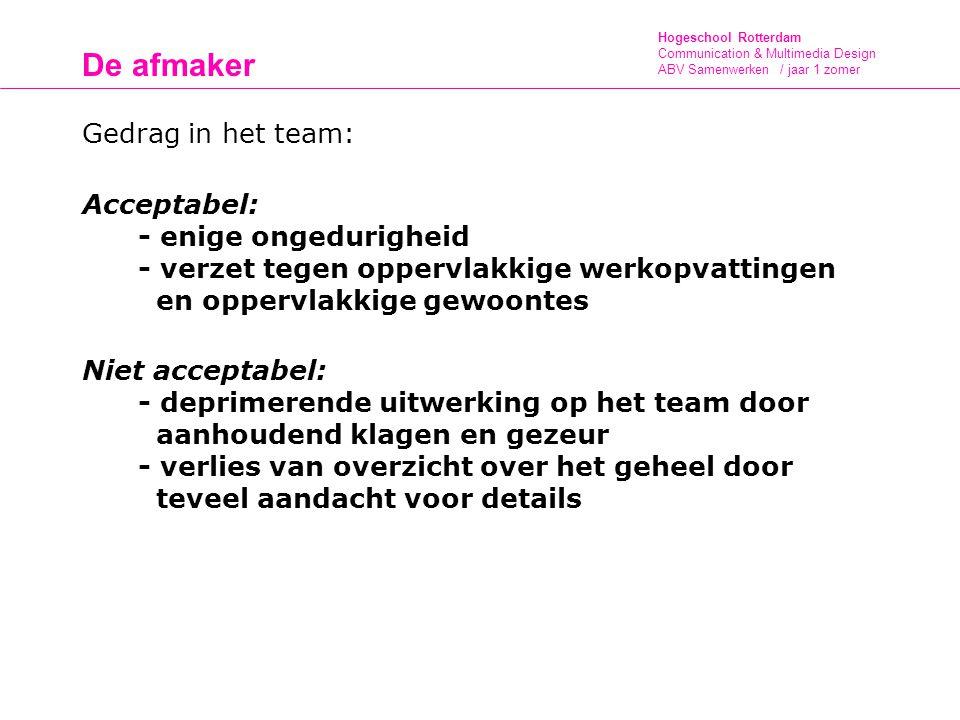 Hogeschool Rotterdam Communication & Multimedia Design ABV Samenwerken / jaar 1 zomer De afmaker Gedrag in het team: Acceptabel: - enige ongedurigheid