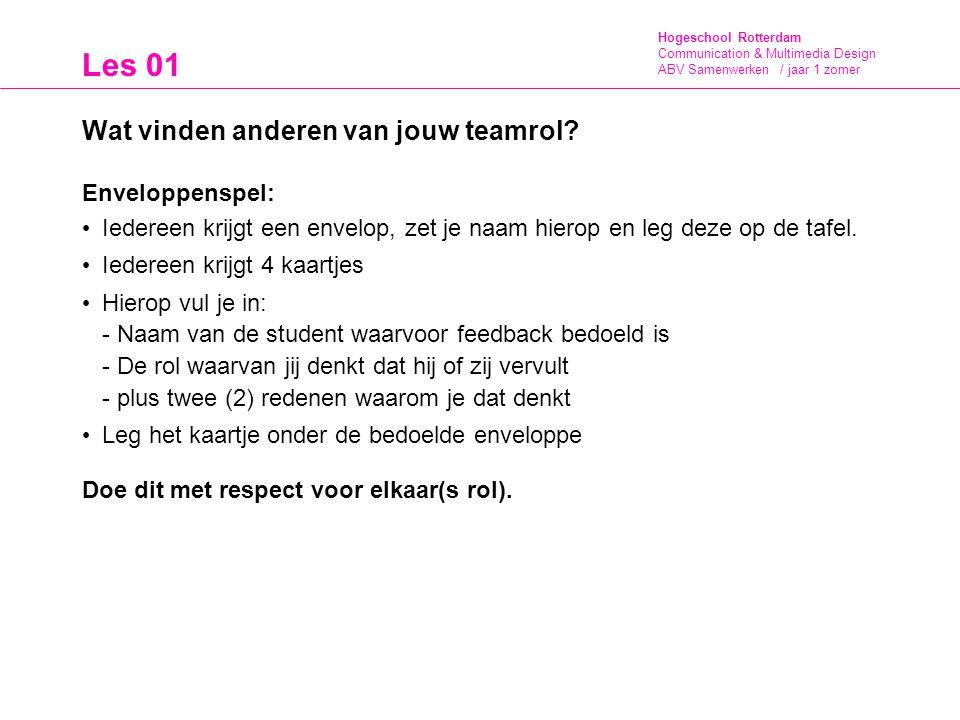 Hogeschool Rotterdam Communication & Multimedia Design ABV Samenwerken / jaar 1 zomer Les 01 Wat vinden anderen van jouw teamrol? Enveloppenspel: Iede