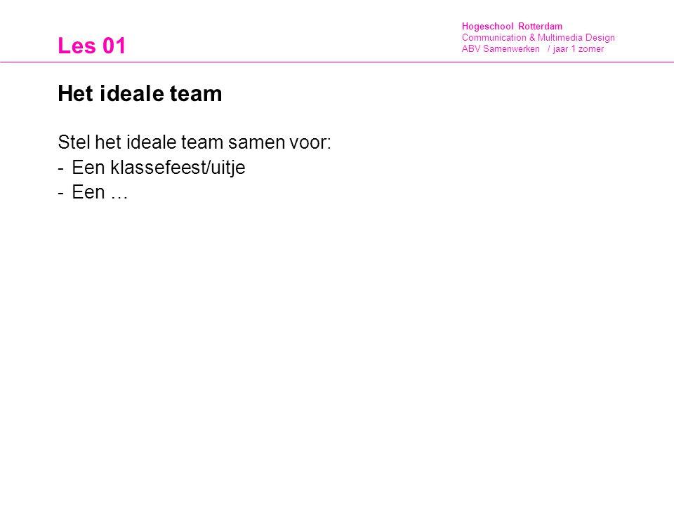 Hogeschool Rotterdam Communication & Multimedia Design ABV Samenwerken / jaar 1 zomer Les 01 Het ideale team Stel het ideale team samen voor: -Een kla