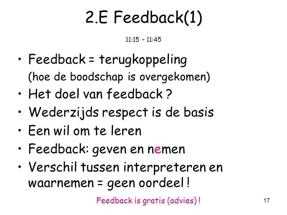 17 2.E Feedback(1) 11:15 – 11:45 Feedback = terugkoppeling (hoe de boodschap is overgekomen) Het doel van feedback .