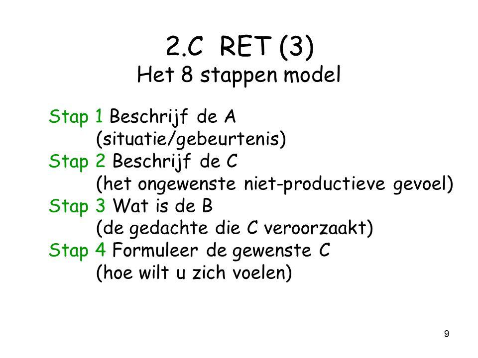 9 2.C RET (3) Het 8 stappen model Stap 1 Beschrijf de A (situatie/gebeurtenis) Stap 2 Beschrijf de C (het ongewenste niet-productieve gevoel) Stap 3 Wat is de B (de gedachte die C veroorzaakt) Stap 4 Formuleer de gewenste C (hoe wilt u zich voelen)