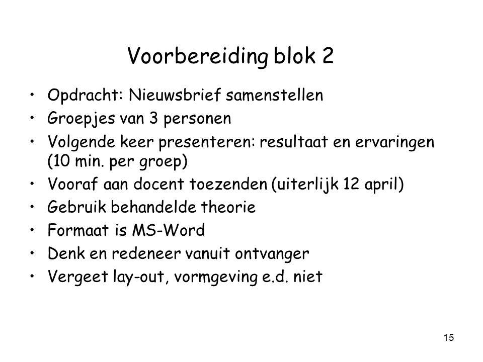 15 Voorbereiding blok 2 Opdracht: Nieuwsbrief samenstellen Groepjes van 3 personen Volgende keer presenteren: resultaat en ervaringen (10 min. per gro