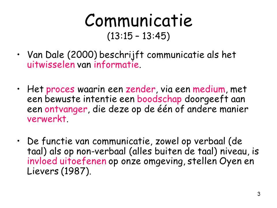 3 Communicatie (13:15 – 13:45) Van Dale (2000) beschrijft communicatie als het uitwisselen van informatie. Het proces waarin een zender, via een mediu