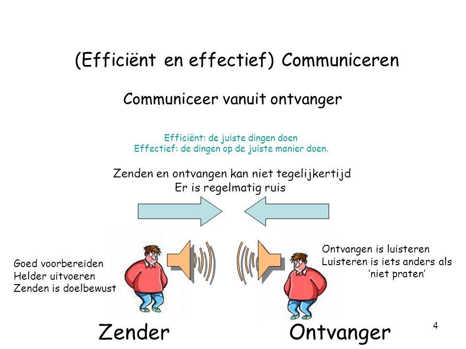4 (Efficiënt en effectief) Communiceren Communiceer vanuit ontvanger Ontvanger Zender Zenden en ontvangen kan niet tegelijkertijd Er is regelmatig rui