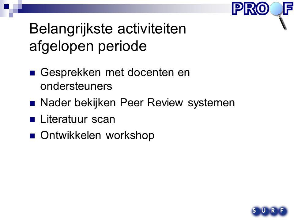 Belangrijkste activiteiten afgelopen periode Gesprekken met docenten en ondersteuners Nader bekijken Peer Review systemen Literatuur scan Ontwikkelen workshop