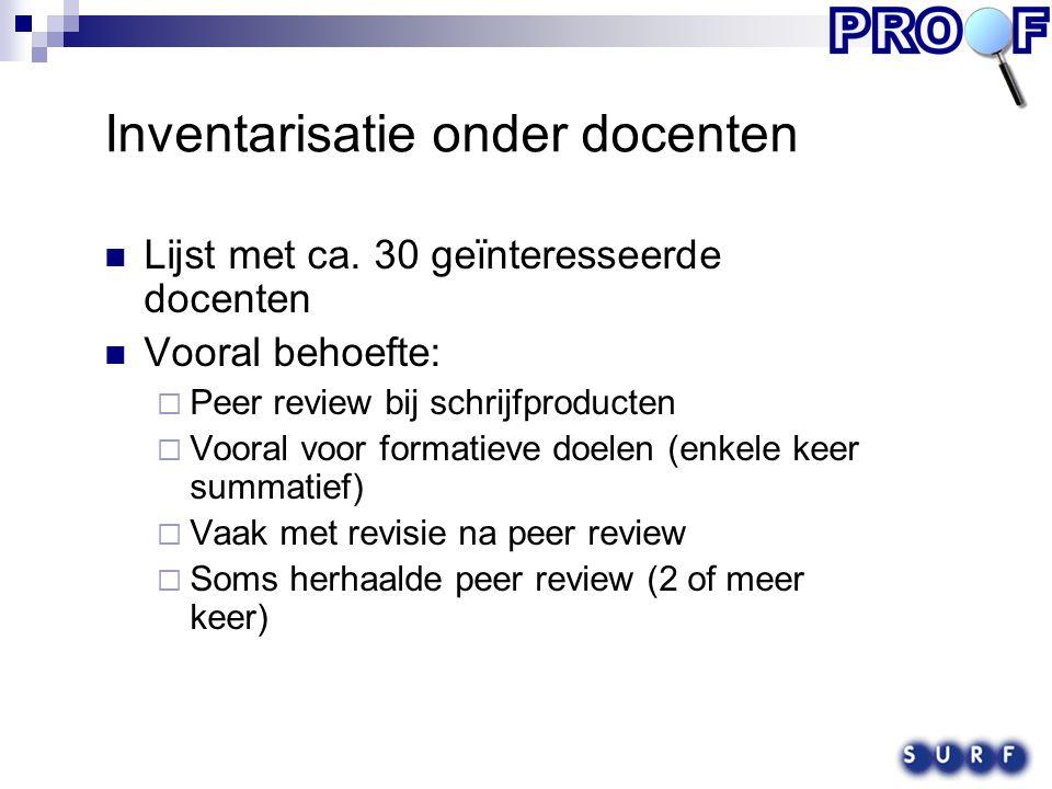 Typerende vorm van peer review Eenmalige peer review die leidt tot een beoordeling van een werkstuk (summatief) Turnitin Eenmalige peer review die aanwijzingen oplevert voor revisie van het werkstuk (formatief) MyDropBox (inline feedback), Espace (toelichting) Herhaalde peer review met revisie Espace