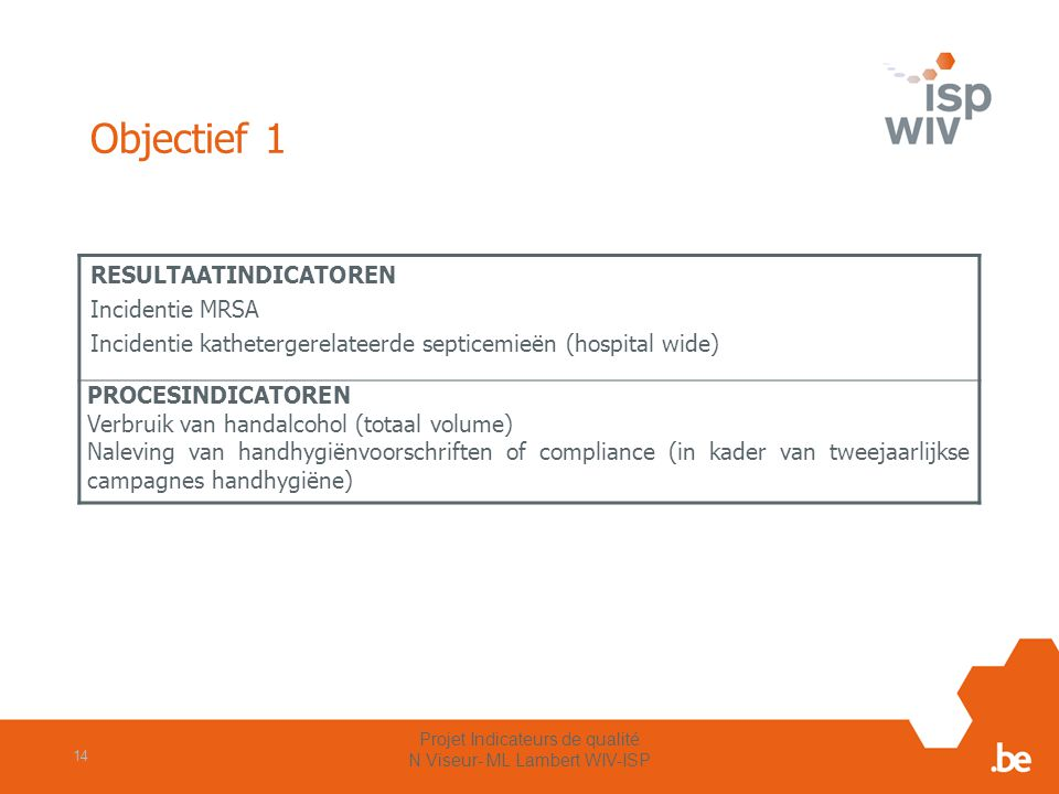 Objectief 1 RESULTAATINDICATOREN Incidentie MRSA Incidentie kathetergerelateerde septicemieën (hospital wide) PROCESINDICATOREN Verbruik van handalcoh