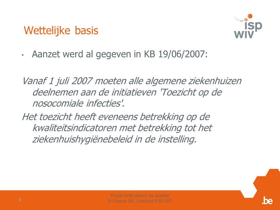 Wettelijke basis Aanzet werd al gegeven in KB 19/06/2007: Vanaf 1 juli 2007 moeten alle algemene ziekenhuizen deelnemen aan de initiatieven 'Toezicht