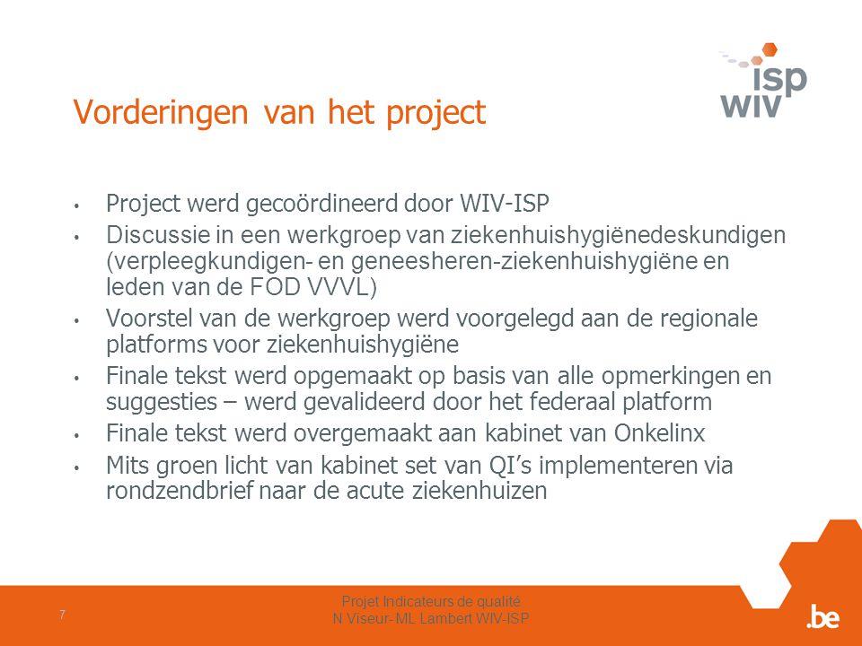 Vorderingen van het project Project werd gecoördineerd door WIV-ISP Discussie in een werkgroep van ziekenhuishygiënedeskundigen (verpleegkundigen- en