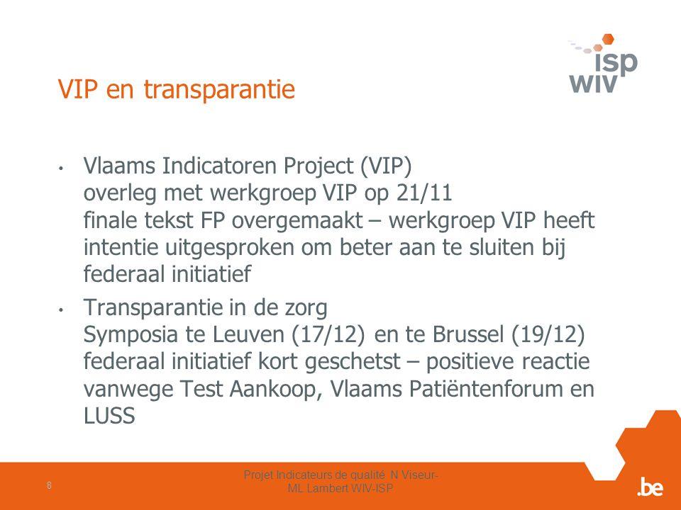 VIP en transparantie Vlaams Indicatoren Project (VIP) overleg met werkgroep VIP op 21/11 finale tekst FP overgemaakt – werkgroep VIP heeft intentie ui