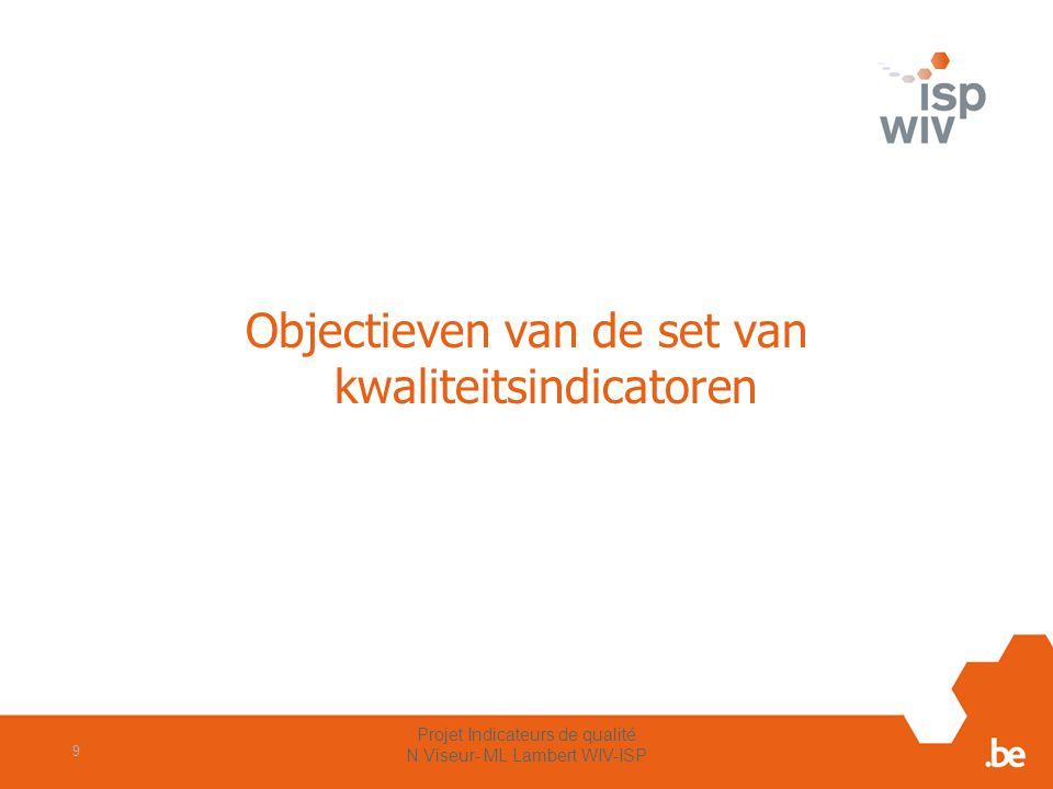 Objectieven van de set van kwaliteitsindicatoren Projet Indicateurs de qualité N Viseur- ML Lambert WIV-ISP 9