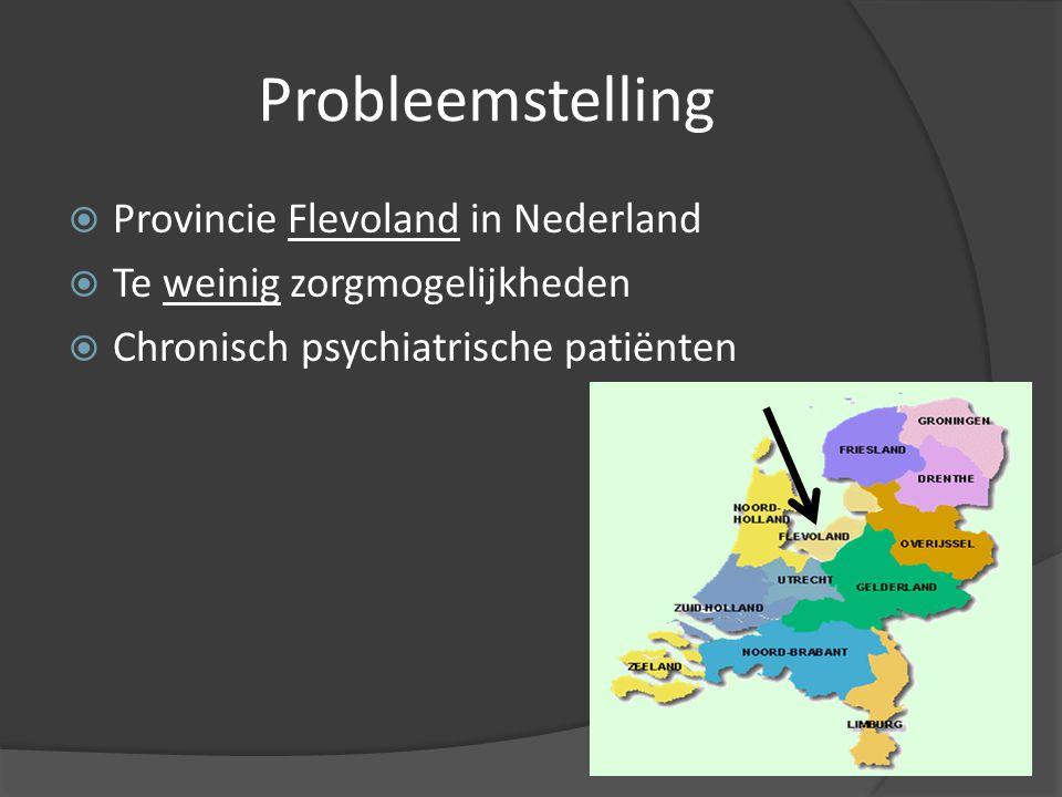 Probleemstelling  Provincie Flevoland in Nederland  Te weinig zorgmogelijkheden  Chronisch psychiatrische patiënten