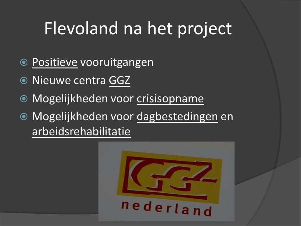 Flevoland na het project  Positieve vooruitgangen  Nieuwe centra GGZ  Mogelijkheden voor crisisopname  Mogelijkheden voor dagbestedingen en arbeidsrehabilitatie