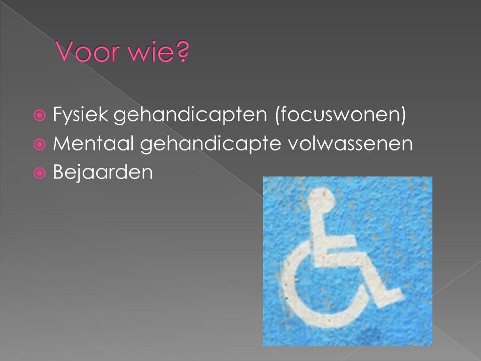  Fysiek gehandicapten (focuswonen)  Mentaal gehandicapte volwassenen  Bejaarden
