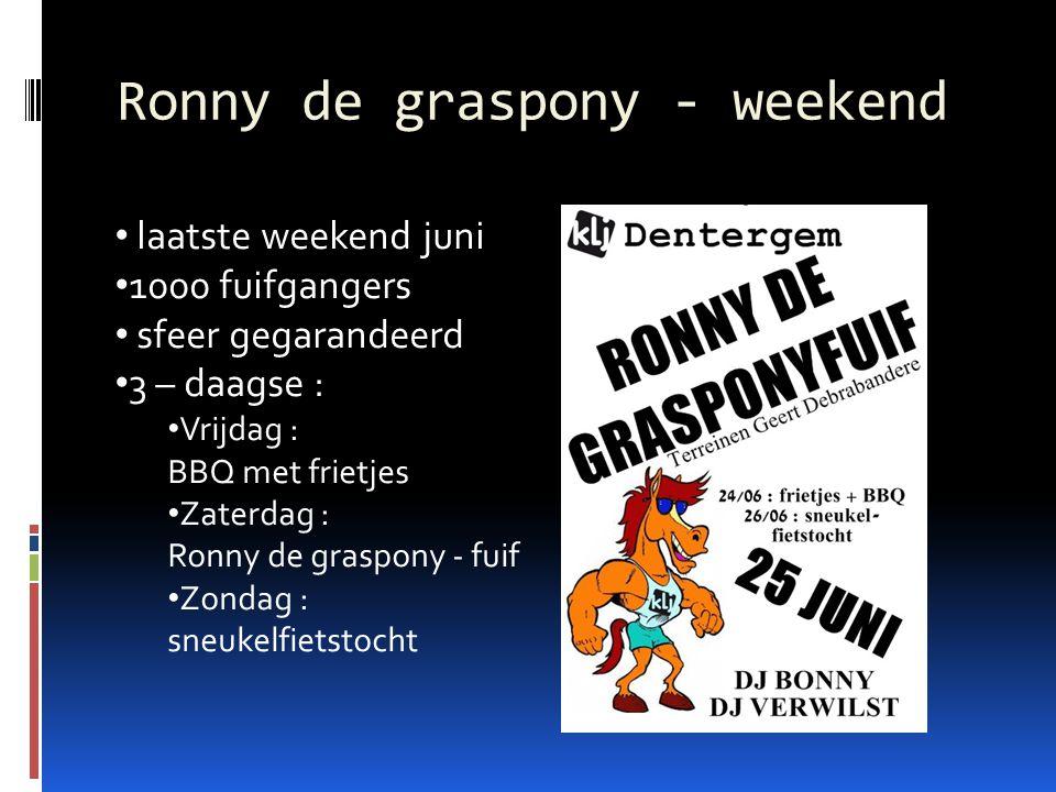 Ronny de graspony - weekend laatste weekend juni 1000 fuifgangers sfeer gegarandeerd 3 – daagse : Vrijdag : BBQ met frietjes Zaterdag : Ronny de graspony - fuif Zondag : sneukelfietstocht