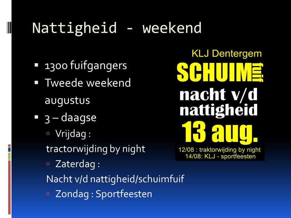 Nattigheid - weekend  1300 fuifgangers  Tweede weekend augustus  3 – daagse  Vrijdag : tractorwijding by night  Zaterdag : Nacht v/d nattigheid/s