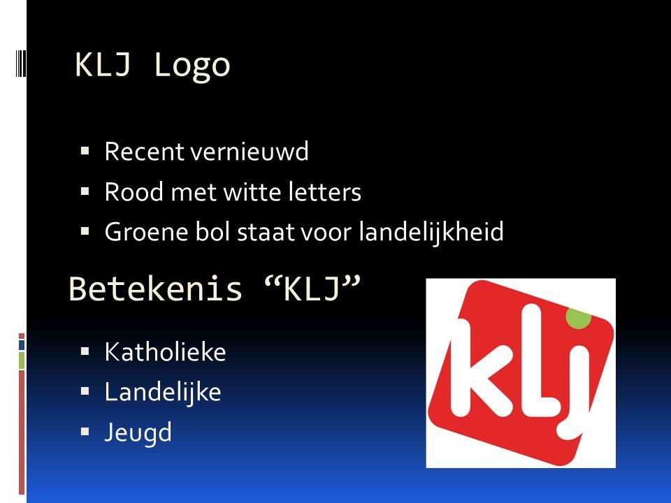 KLJ Logo  Recent vernieuwd  Rood met witte letters  Groene bol staat voor landelijkheid  Katholieke  Landelijke  Jeugd Betekenis KLJ