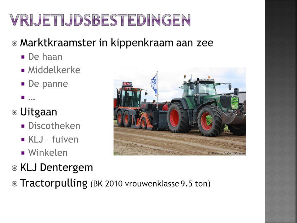  Marktkraamster in kippenkraam aan zee  De haan  Middelkerke  De panne ……  Uitgaan  Discotheken  KLJ – fuiven  Winkelen  KLJ Dentergem  Tractorpulling (BK 2010 vrouwenklasse 9.5 ton)