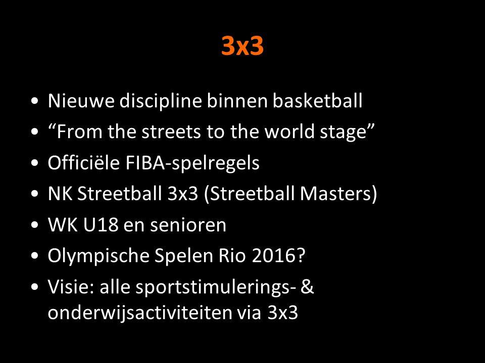 3x3 Nieuwe discipline binnen basketball From the streets to the world stage Officiële FIBA-spelregels NK Streetball 3x3 (Streetball Masters) WK U18 en senioren Olympische Spelen Rio 2016.