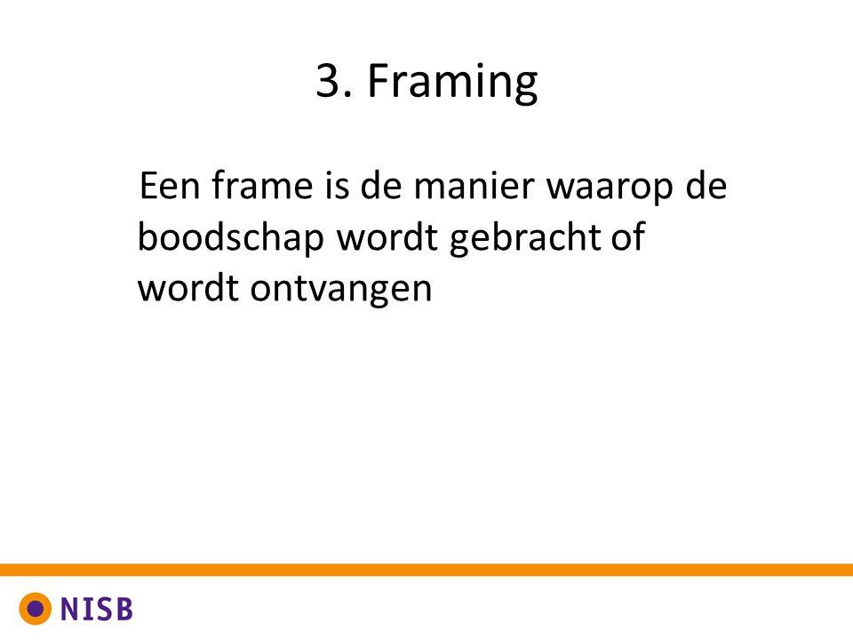 3. Framing Een frame is de manier waarop de boodschap wordt gebracht of wordt ontvangen