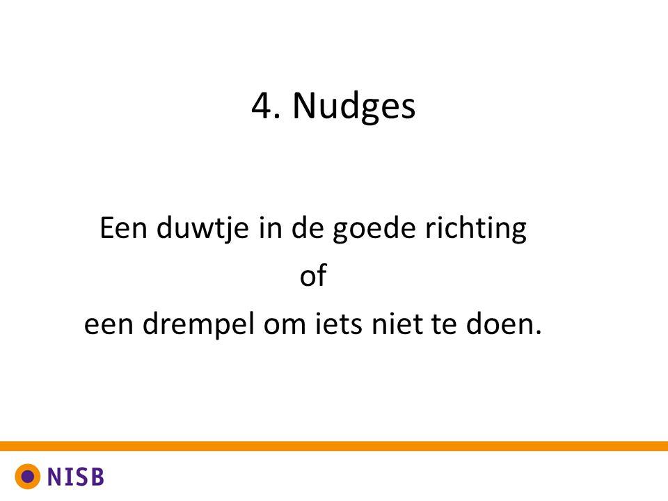 4. Nudges Een duwtje in de goede richting of een drempel om iets niet te doen.