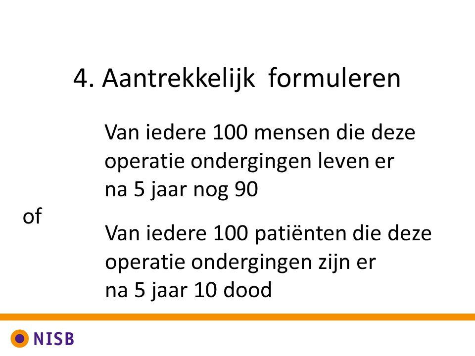 4. Aantrekkelijk formuleren Van iedere 100 mensen die deze operatie ondergingen leven er na 5 jaar nog 90 Van iedere 100 patiënten die deze operatie o