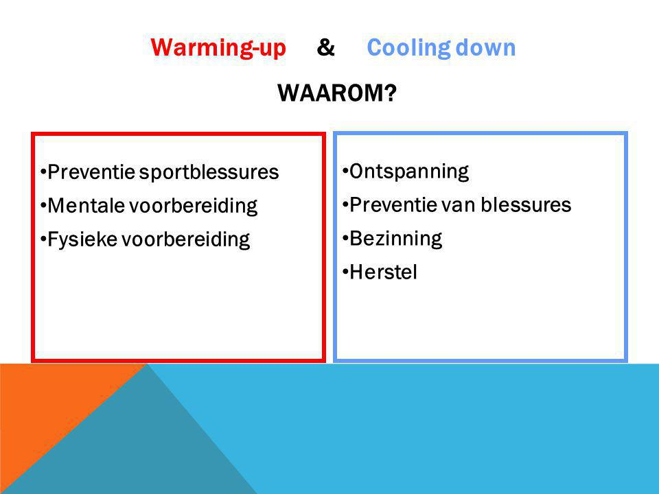 Preventie sportblessures Mentale voorbereiding Fysieke voorbereiding Ontspanning Preventie van blessures Bezinning Herstel Warming-up & Cooling down W