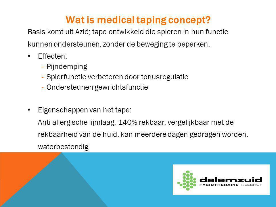 Wat is medical taping concept? Basis komt uit Azië; tape ontwikkeld die spieren in hun functie kunnen ondersteunen, zonder de beweging te beperken. Ef