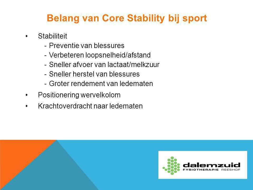Belang van Core Stability bij sport Stabiliteit -Preventie van blessures -Verbeteren loopsnelheid/afstand -Sneller afvoer van lactaat/melkzuur -Snelle