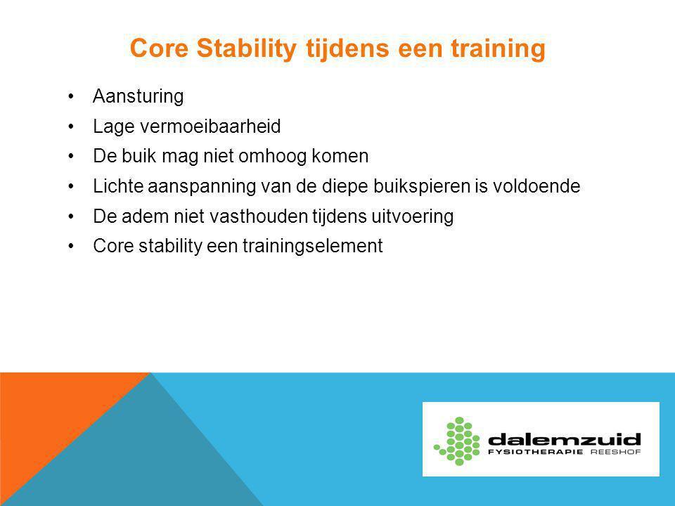 Core Stability tijdens een training Aansturing Lage vermoeibaarheid De buik mag niet omhoog komen Lichte aanspanning van de diepe buikspieren is voldo