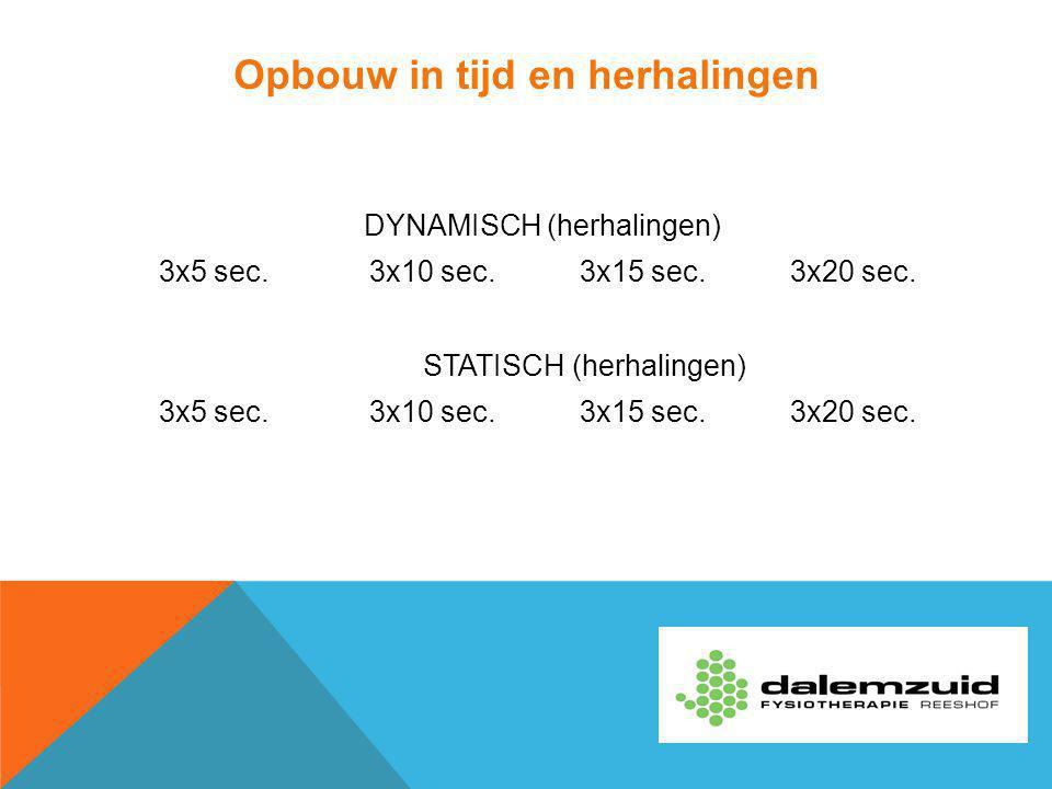 Opbouw in tijd en herhalingen DYNAMISCH (herhalingen) 3x5 sec.3x10 sec.3x15 sec.3x20 sec. STATISCH (herhalingen) 3x5 sec.3x10 sec.3x15 sec.3x20 sec.