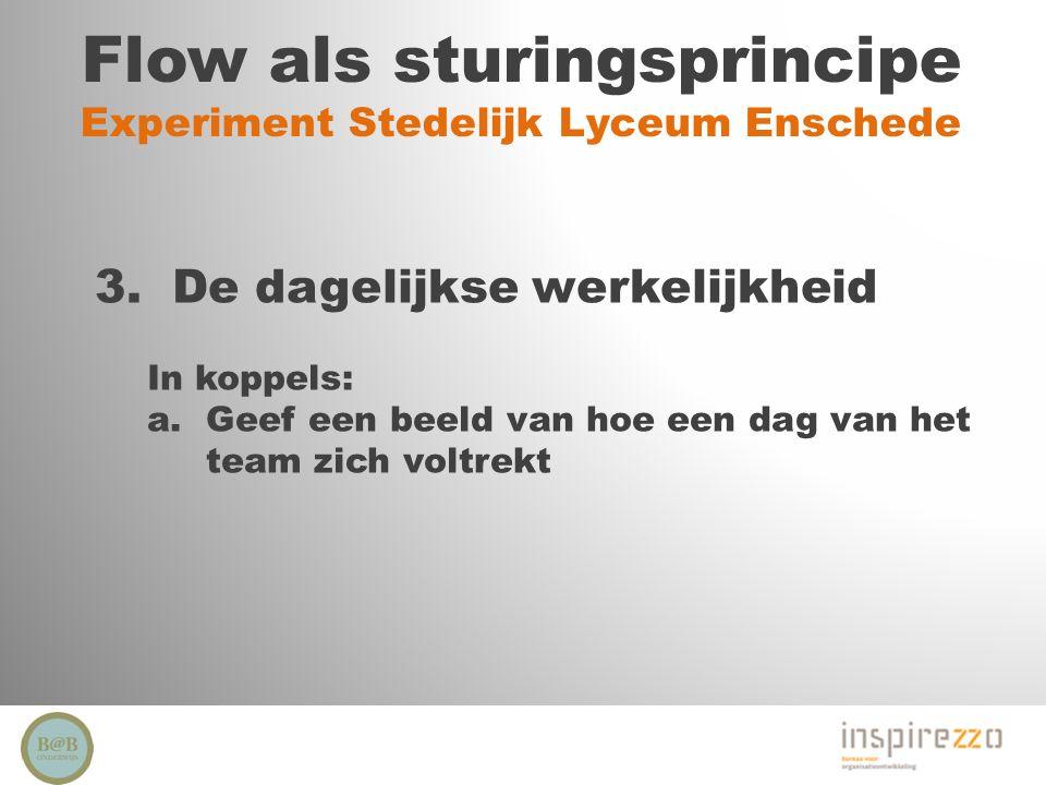 Flow als sturingsprincipe Experiment Stedelijk Lyceum Enschede 3. De dagelijkse werkelijkheid In koppels: a.Geef een beeld van hoe een dag van het tea