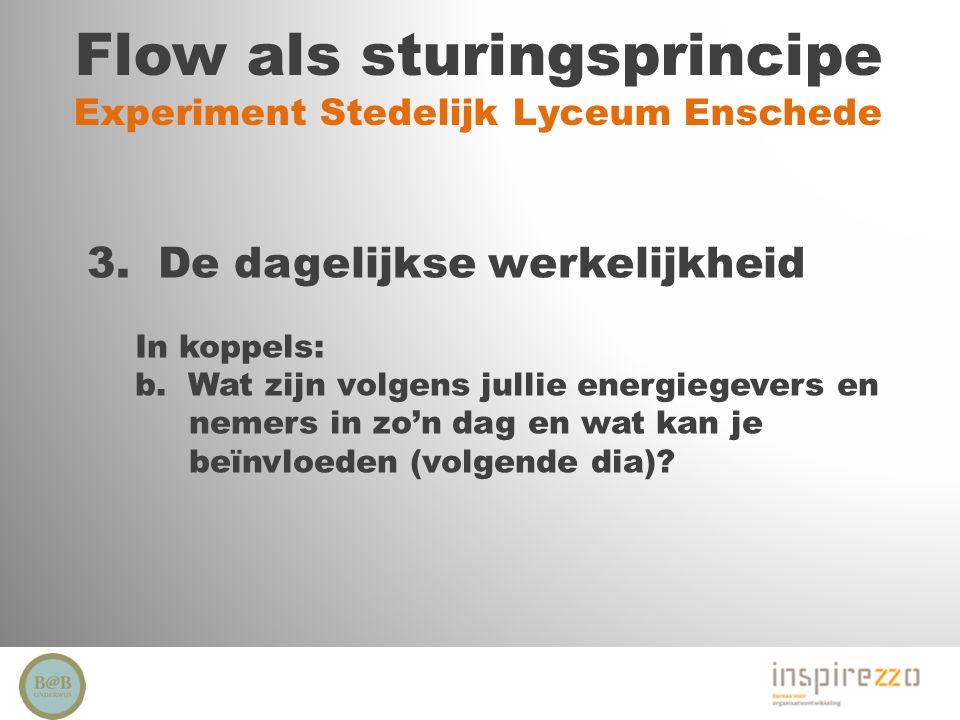 Flow als sturingsprincipe Experiment Stedelijk Lyceum Enschede 3. De dagelijkse werkelijkheid In koppels: b. Wat zijn volgens jullie energiegevers en