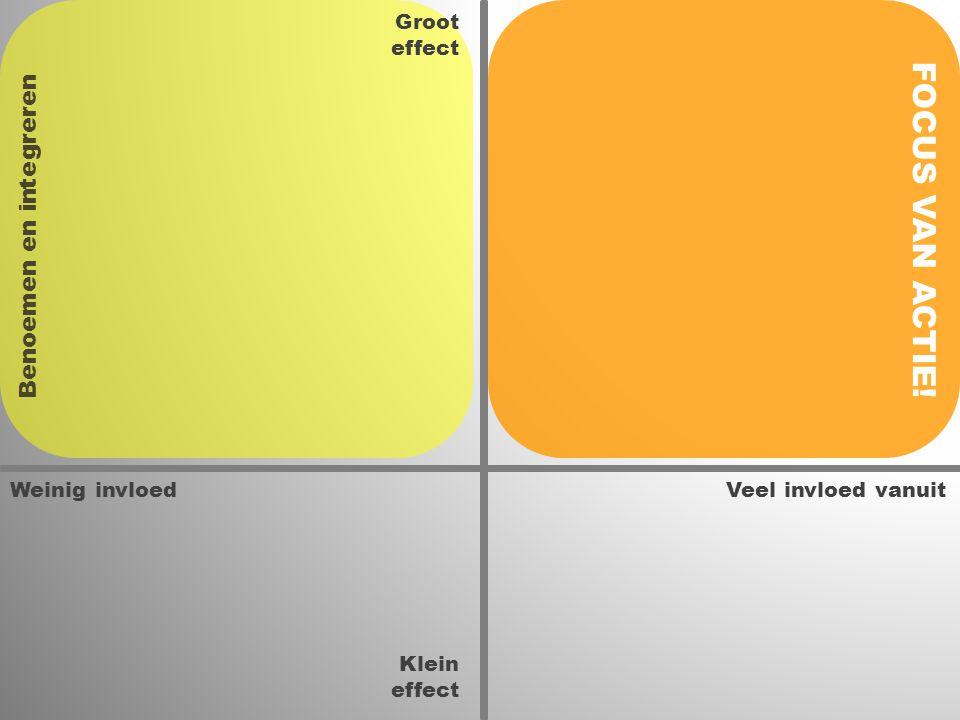 Weinig invloedVeel invloed vanuit Groot effect Klein effect FOCUS VAN ACTIE! Benoemen en integreren