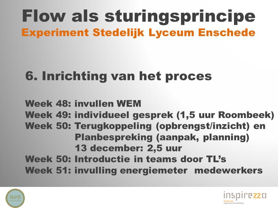 Flow als sturingsprincipe Experiment Stedelijk Lyceum Enschede 6. Inrichting van het proces Week 48: invullen WEM Week 49: individueel gesprek (1,5 uu
