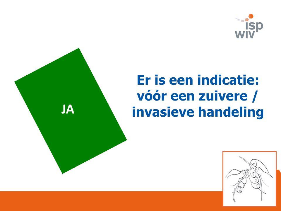 JA Er is een indicatie: vóór een zuivere / invasieve handeling
