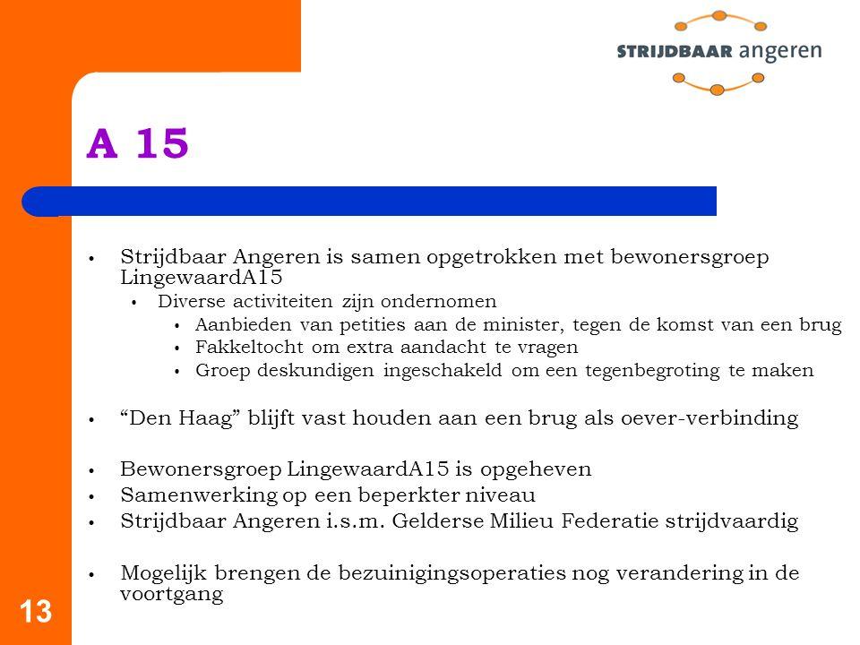 13 A 15 Strijdbaar Angeren is samen opgetrokken met bewonersgroep LingewaardA15 Diverse activiteiten zijn ondernomen Aanbieden van petities aan de minister, tegen de komst van een brug Fakkeltocht om extra aandacht te vragen Groep deskundigen ingeschakeld om een tegenbegroting te maken Den Haag blijft vast houden aan een brug als oever-verbinding Bewonersgroep LingewaardA15 is opgeheven Samenwerking op een beperkter niveau Strijdbaar Angeren i.s.m.