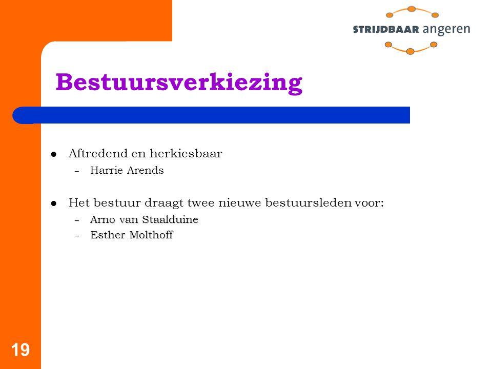 19 Bestuursverkiezing Aftredend en herkiesbaar – Harrie Arends Het bestuur draagt twee nieuwe bestuursleden voor: – Arno van Staalduine – Esther Molthoff