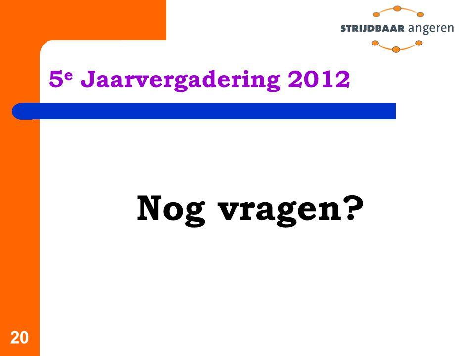 20 5 e Jaarvergadering 2012 Nog vragen?