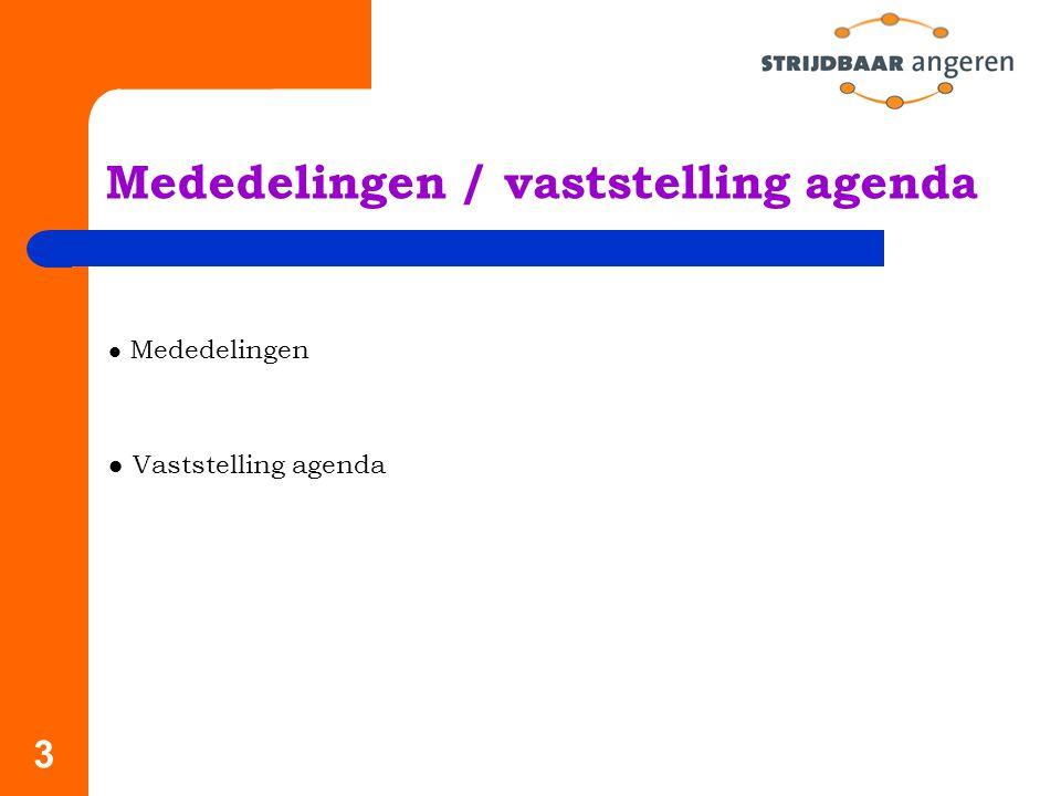 3 Mededelingen / vaststelling agenda Mededelingen Vaststelling agenda