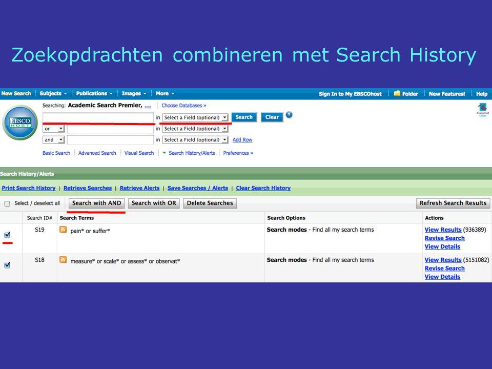 Zoekopdrachten combineren met Search History