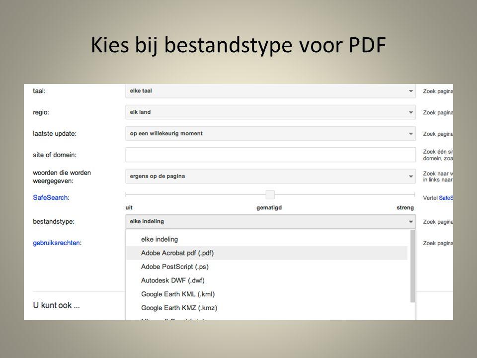 Kies bij bestandstype voor PDF