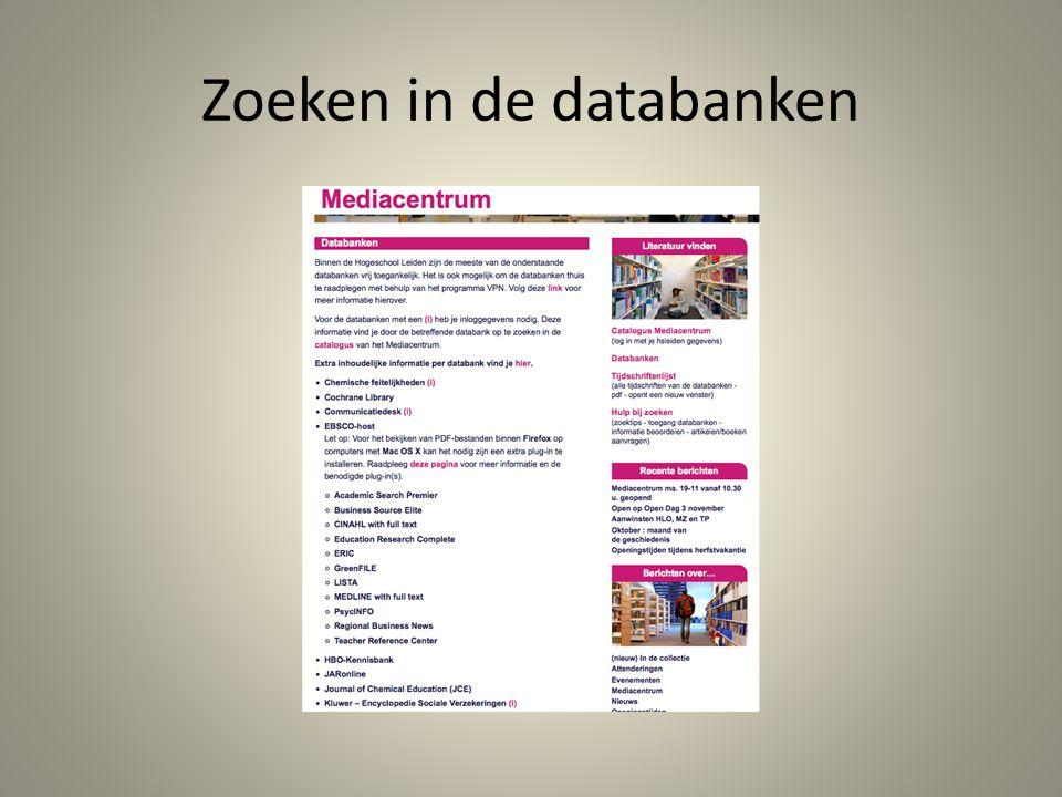 Zoeken in de databanken