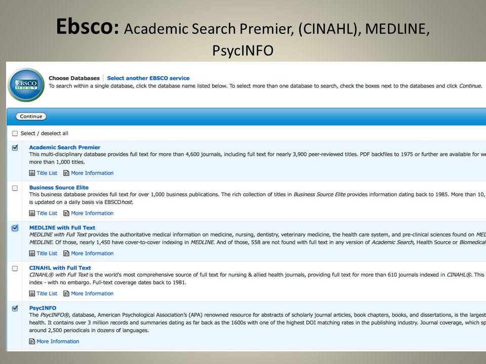 Ebsco : Academic Search Premier, (CINAHL), MEDLINE, PsycINFO