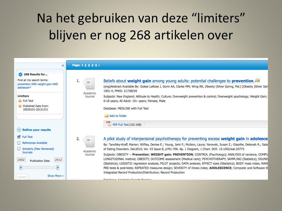 """Na het gebruiken van deze """"limiters"""" blijven er nog 268 artikelen over"""