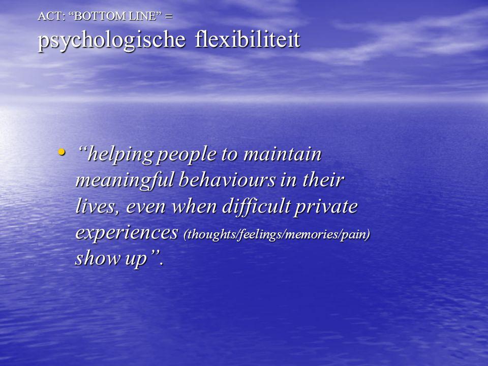 ACT met jargon Psychologische flexibiliteit Mindfulness Acceptatie/ experientiele vermijding Cognitieve defusie Zelf als context waarden Gecommitteerde actie
